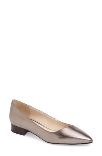 Cole Haan Heidy Pointy Toe Flat In Pewter Metallic Leather