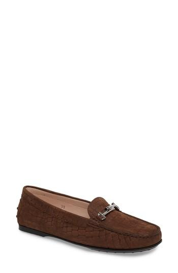 Tod's Tods Croc Embossed Double T Loafer In Dark Brown