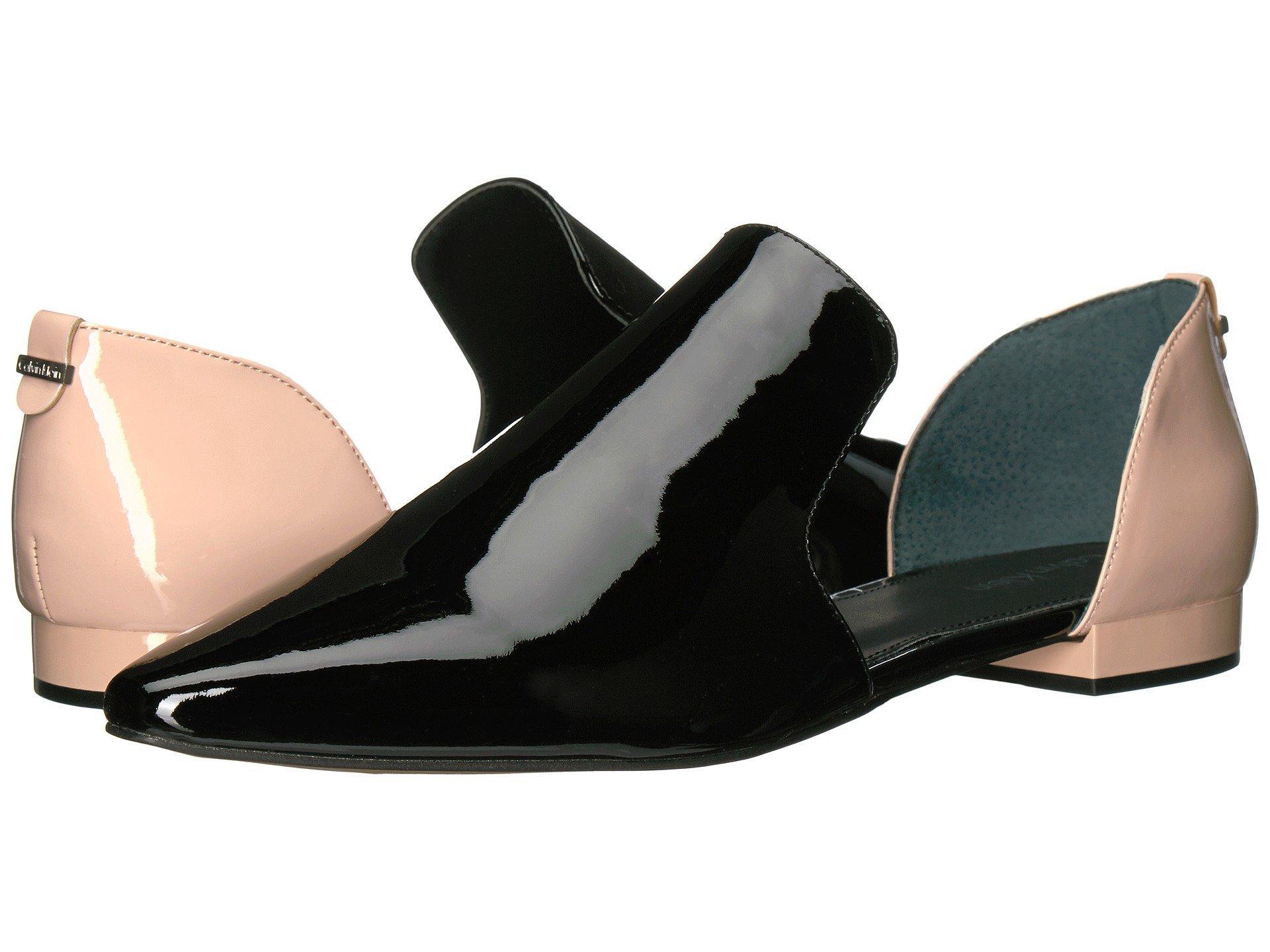 Calvin Klein Edona Loafer Flat In Black/ Sheer Satin