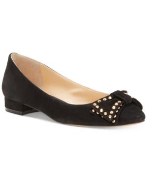 Vince Camuto Annaley Studded Ballet Bow Flats Women's Shoes In Black