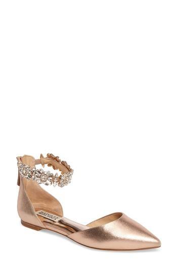 Badgley Mischka Morgen Ankle Strap Flat In Rose Gold Suede