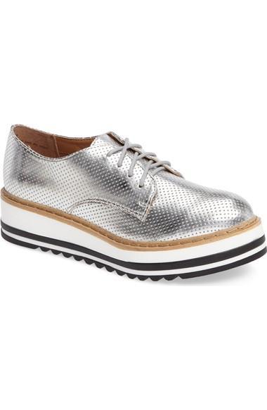 Steve Madden Vassar Platform Oxford In Silver Faux Leather