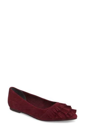 Seychelles Downstage Pointy Toe Flat In Burgundy Suede