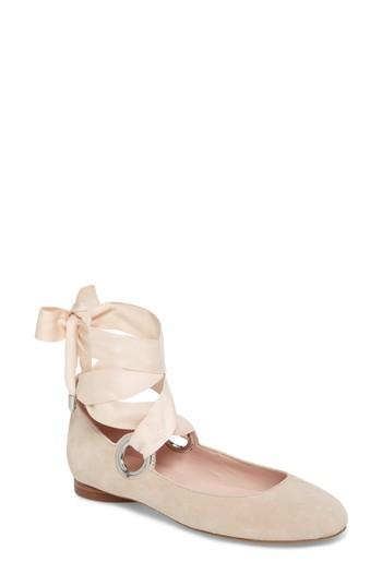 Avec Les Filles Miri Lace-up Flat In Bamboo Suede