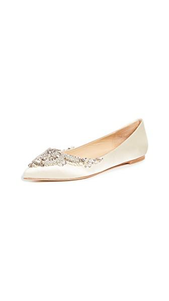 Badgley Mischka Malena Satin Embellished Pointed Toe Flats In Ivory