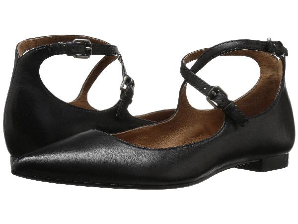 Frye Sienna Cross Ballet Flat In Black Soft Nappa Lamb