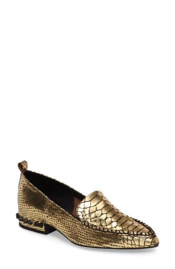 Jeffrey Campbell Barnett Studded Loafer In Gold Snake Black