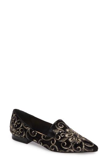 Badgley Mischka Mary Loafer In Black Brocade Fabric