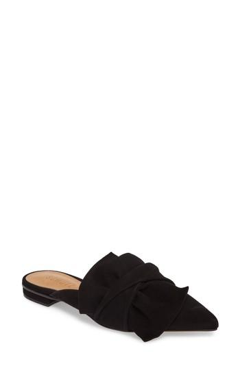 Schutz D'ana Knotted Loafer Mule In Black Suede