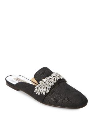 Badgley Mischka Kana Embellished Textile Mules In Black