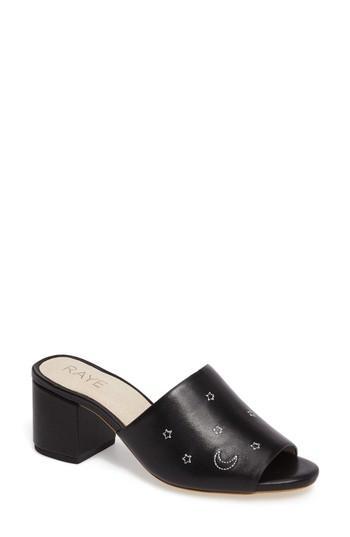 Raye Cain Cosmos Slide Sandal In Black Leather