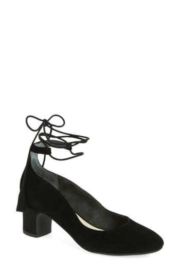 Seychelles Trick Lace-up Pump In Black Suede
