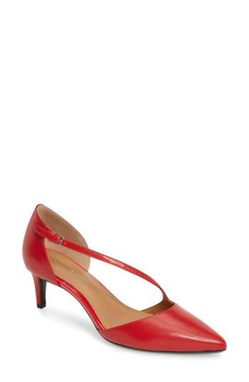 Calvin Klein Page Pointy Toe Pump In Lipstick Red Leather