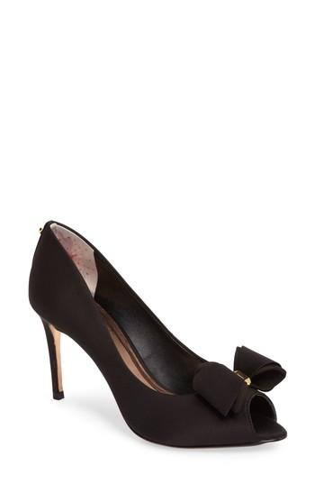 Ted Baker Alifair Bow Peeptoe Pumps - Black In Black Fabric