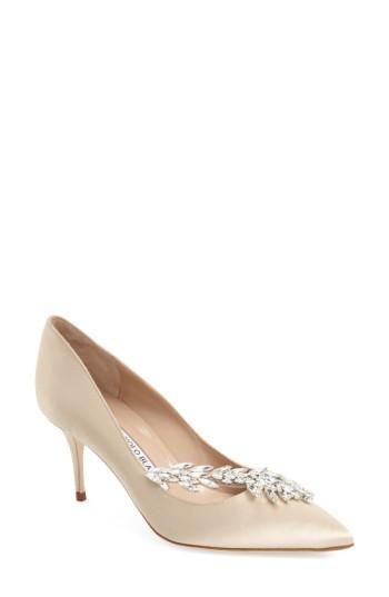 Manolo Blahnik ' Nadira' Crystal Embellished Pointy Toe Pump In Beige Satin