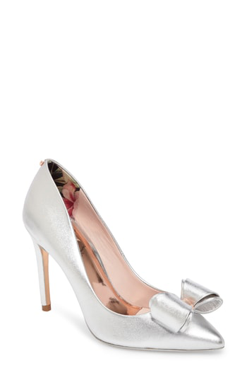 Ted Baker Women's Azeline Leather Pointed Toe Pumps In Silver Leather