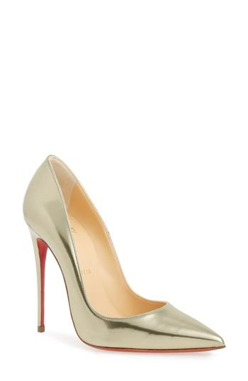 Christian Louboutin So Kate Pointy Toe Pump In Light Gold
