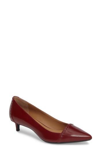 Calvin Klein Griselda Studded Cap Toe Pump In Cherry Red
