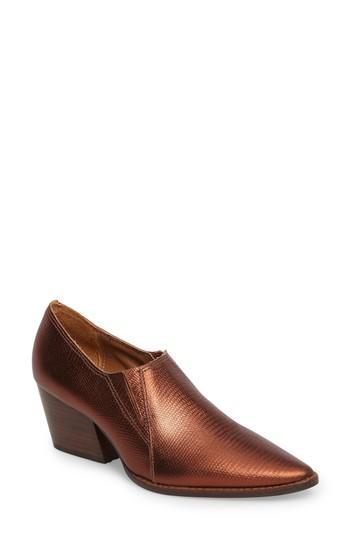 Matisse Madeline Block Heel Bootie In Copper Leather