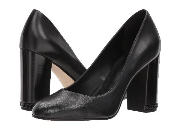Michael Michael Kors Women's Jamie Leather Block Heel Pumps In Black