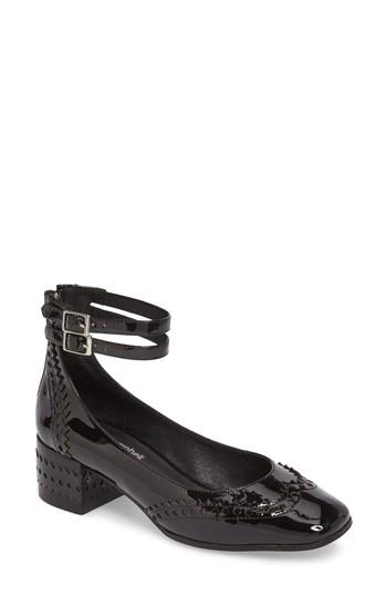 Jeffrey Campbell Dumast Wingtip Ankle Strap Pump In Black Patent