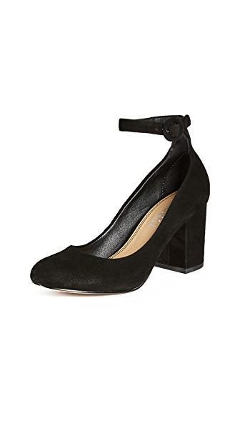 Splendid Rosie Ankle Strap Pump In Black Suede