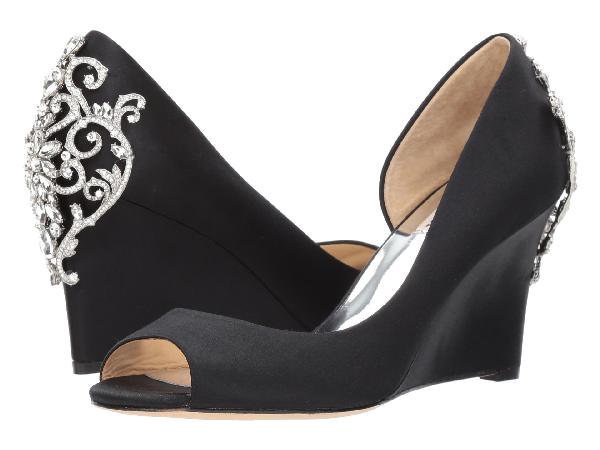 Badgley Mischka Meagan Embellished Peep Toe Wedge In Black Satin