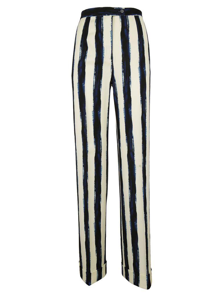 Alberta Ferretti Striped Palazzo Trousers In White