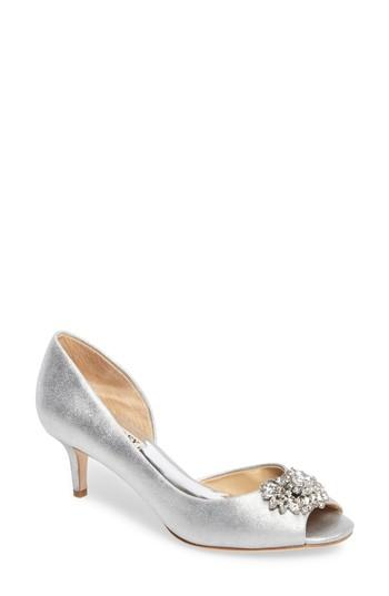 Badgley Mischka Macie Peep Toe D-orsay Pump In Silver Metallic Suede