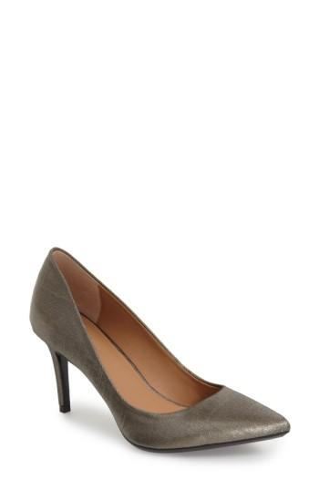 Calvin Klein 'gayle' Pointy Toe Pump In Anthracite Linen