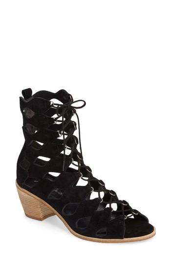 Matisse Jester Lace-up Sandal In Black Suede