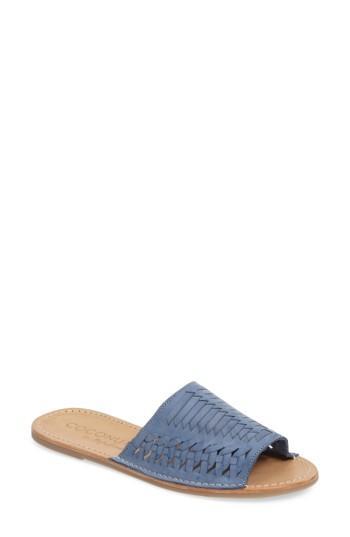 Matisse Mateo Slide Sandal In Dusty Blue Leather
