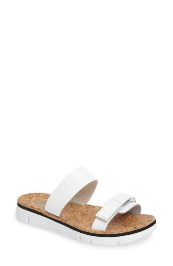 Camper 'oruga' Two Strap Slide Sandal In White Leather