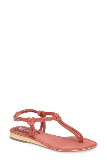 Matisse Effie Knotted Sandal In Coral Suede