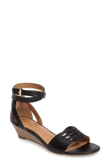 Seychelles Sincere Wraparound Wedge Sandal In Black Leather
