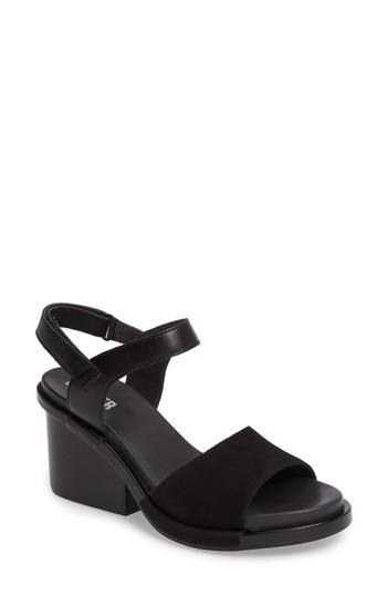 Camper Ivy Ankle Strap Sandal In Black Leather