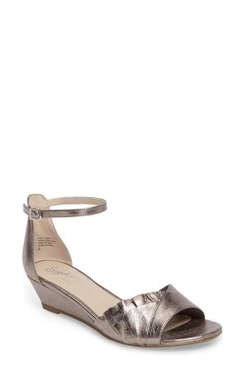Seychelles Coffee Wedge Sandal In Pewter Leather