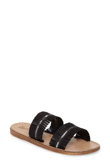 Seychelles Someone Comin' Slide Sandal In Black Leather