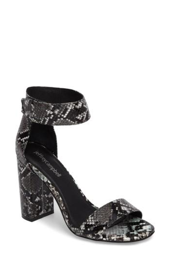 Jeffrey Campbell 'lindsay' Ankle Strap Sandal In Black Grey Snake
