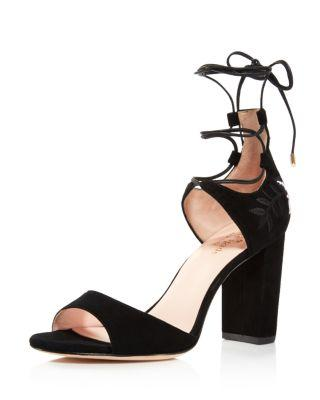 Kate Spade New York Oasis Embroidered Sandal In Black Suede