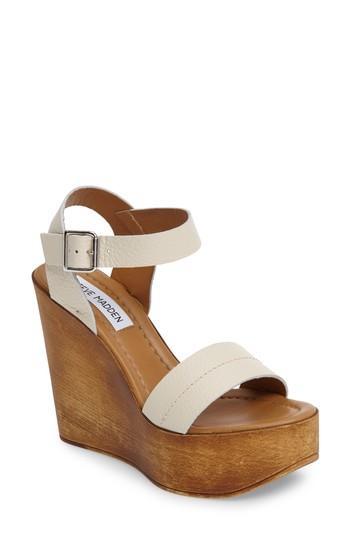 Steve Madden Belma Wedge Sandal In Off-white Leather
