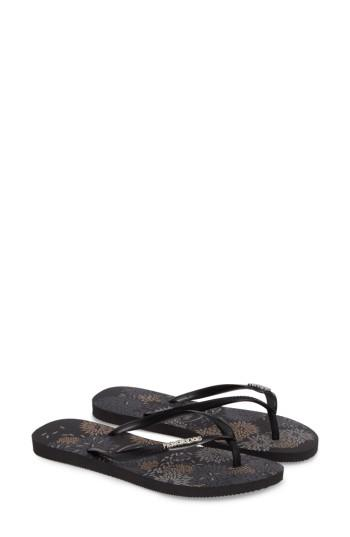 Havaianas Slim Metallic Bloom Flip Flop In Black/ Silver