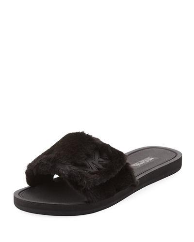 Michael Michael Kors Mk Logo Slide In Black Faux Fur