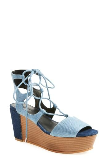 c361ed17ab60 Rebecca Minkoff  Cady  Wedge Sandal (Women) In Light Blue Denim ...