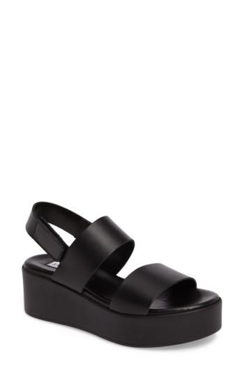 various colors competitive price differently Steve Madden Rachel Platform Wedge Sandal In Black Leather | ModeSens