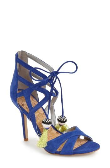Sam Edelman 'azela' Tassel Lace-up Sandal In Sailor Blue Suede