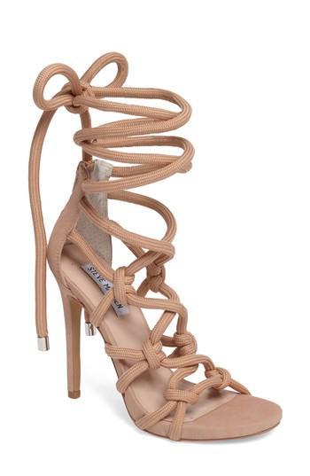 Steve Madden Dream Ankle Tie Sandal In Blush Nubuck