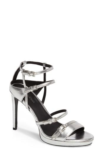 Calvin Klein Shantell Strappy Platform Sandal In Silver Leather