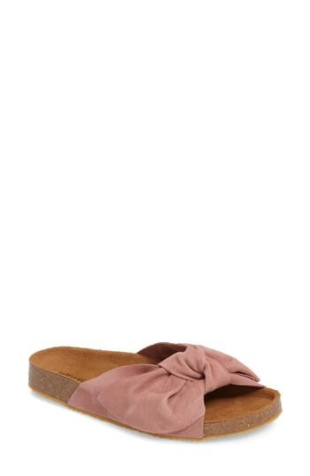Jeffrey Campbell Sunmist Knotted Slide In Pink Suede