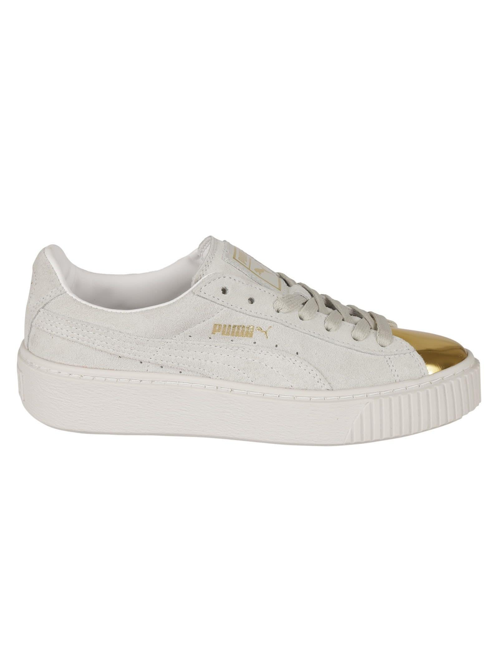 Puma White And Gold Platform Sneakers In Black/ Metallic Rust